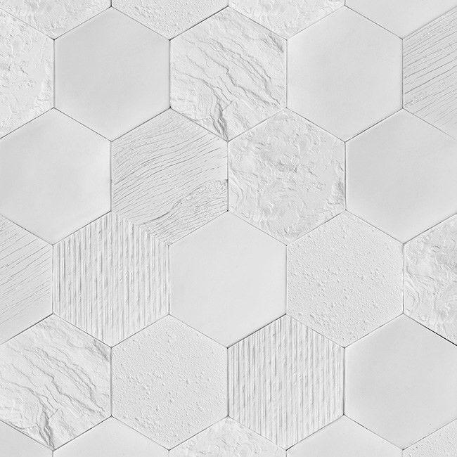 Plytka Dekoracyjna Merelia Hexagon Bialy 0 44 M2 Plytki Gipsowe Okladziny Wewnetrzne Hexagon Texture Crafts