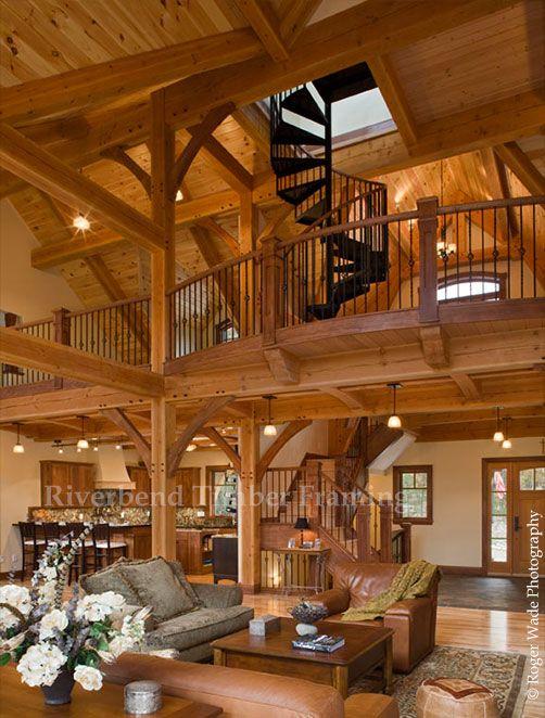 Compact Hybrid Timber Frame Home Design Photos Timber Home Living: Timber House, Log Cabin Homes, Log Cabin Interior