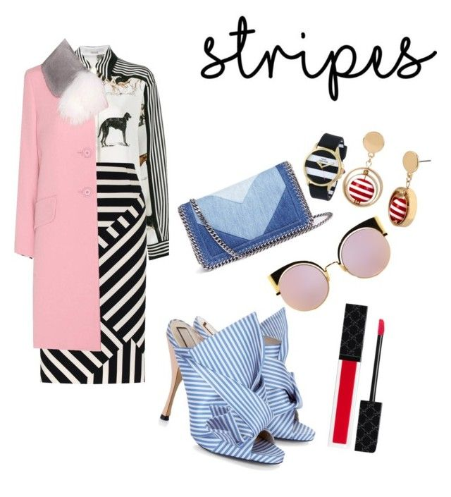 """stripes mix-matching"" by mixstudio ❤ liked on Polyvore featuring STELLA McCARTNEY, Fenn Wright Manson, Miu Miu, N°21, Fendi, Gucci, Juicy Couture and bleu"