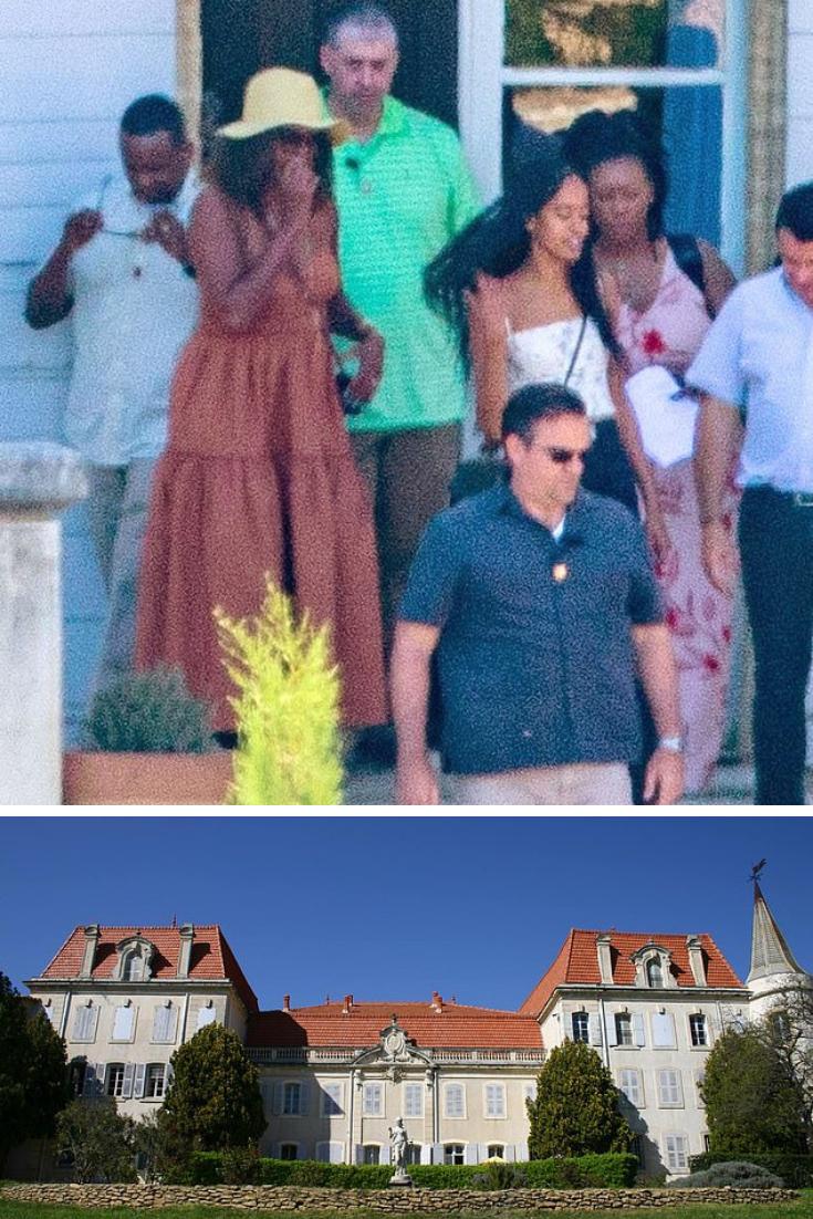 Michelle Obama and daughter Malia visit a Châteauneufdu