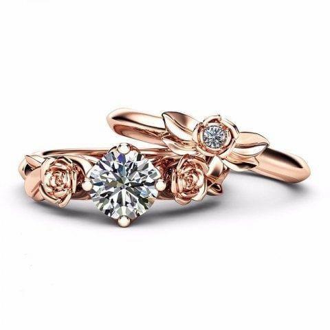999bcca190aa Rose Flower Diamond Couple Rings  couplerings