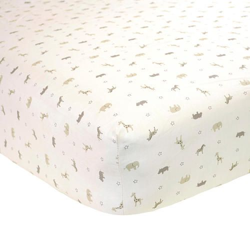 Carters Printed Crib Sheet In A Neutral Safari Print