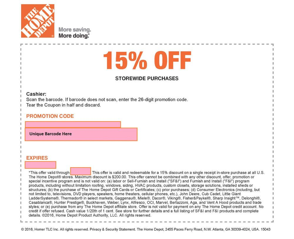 One 1x Home Depot 15 Off Coupon Save Max 200 Exp 6 26 17 Instore Use Only Home Depot Coupons Depot Coupons