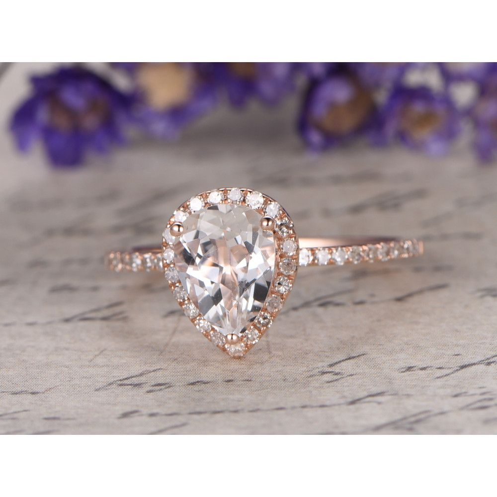 Xmm pear cut white topaz and diamond engagement ring k yellow