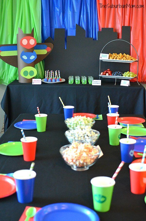 Pj Mask Party Decorations Mesmerizing Pj Masks Birthday Party Ideas And Free Printables  The Suburban Mom Inspiration