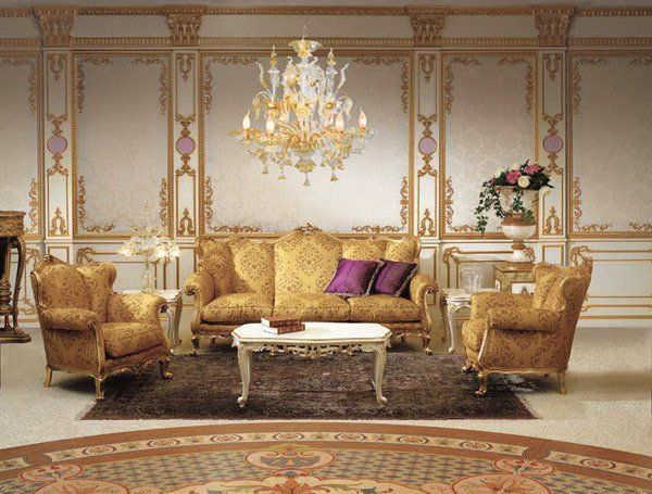 Baroque Living Room With Crystal Chandelier All About The Trim But Too Much Gold For Me