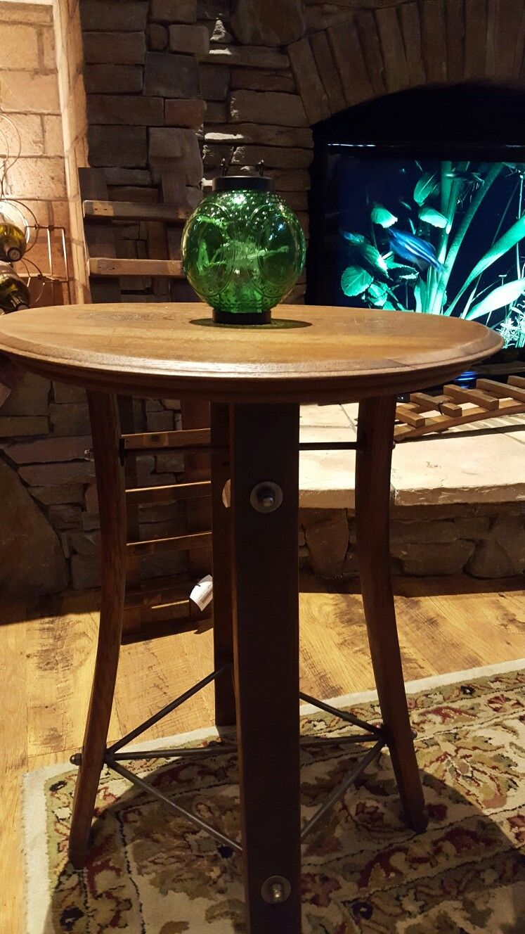Table made from wine barrels @ Childress Winery NC