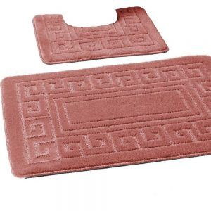 Memory Foam Bath Mat Set 2 Piece Non Slip Pedestal and Bath Toilet Bathroom Rug