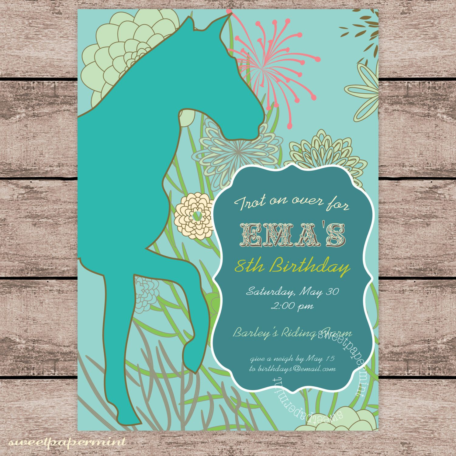 Equestrian Turquoise Horse Old West Invitation By