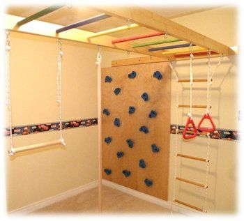 Diy home jungle gym for kids wood sold separately for Basement jungle gym
