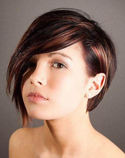 Short Dark Brown Hair With Copper Red And Blonde Highlights Hair