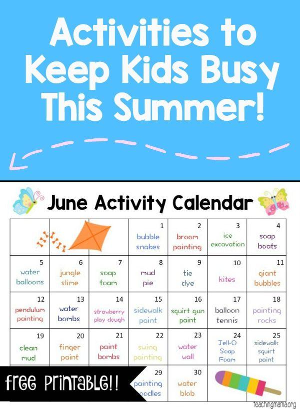 June Activity Calendar Activities, June and Summer - activity calendar