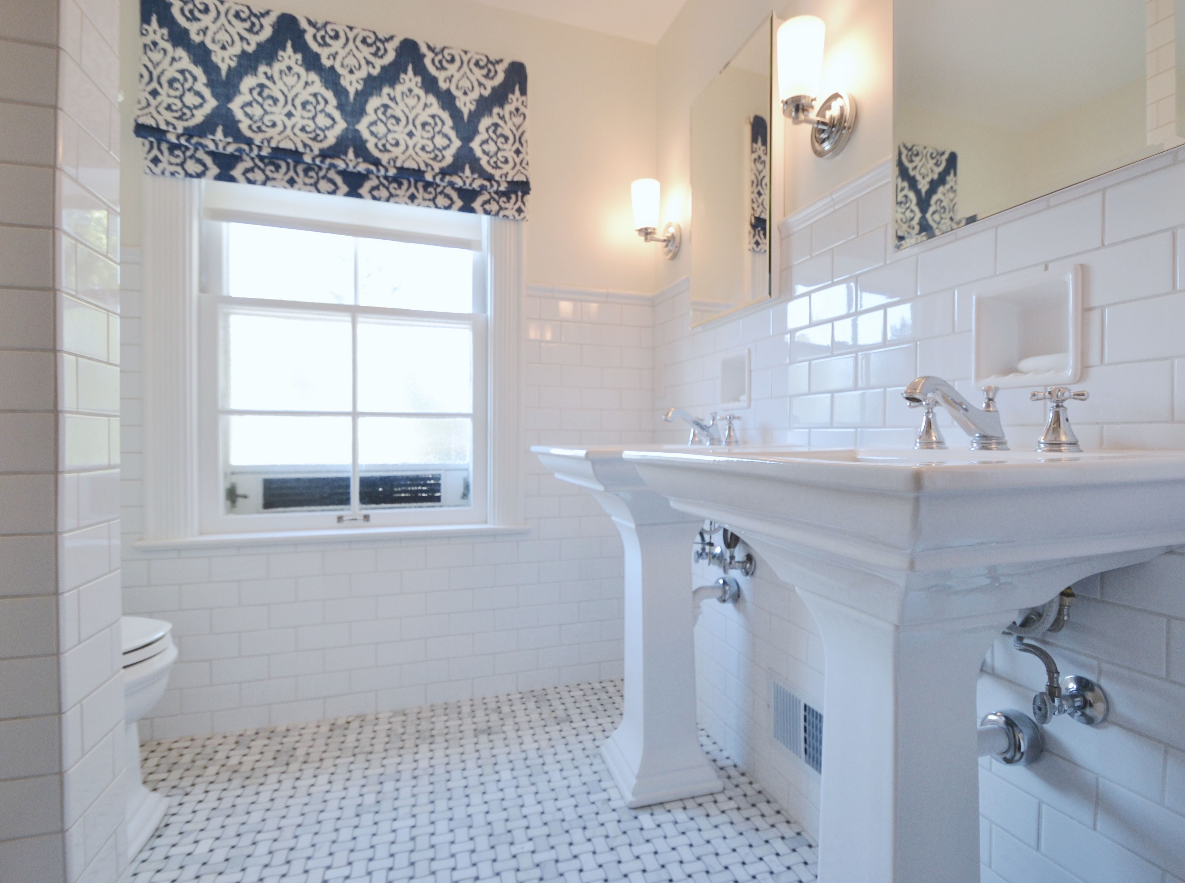 Beautiful White Bathroom With Blue Accents Love The Pedestal Sinks