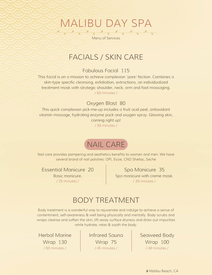 Spa And Salon Menu Designs From Imenupro More Than Just Templates