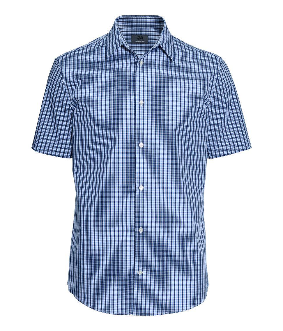 Premium Quality Button Down Shirt With Blue Checks Short Sleeves And Turn Down Collar H M Men S Classics Blue Shirt Dress Half Shirts Shirt Dress