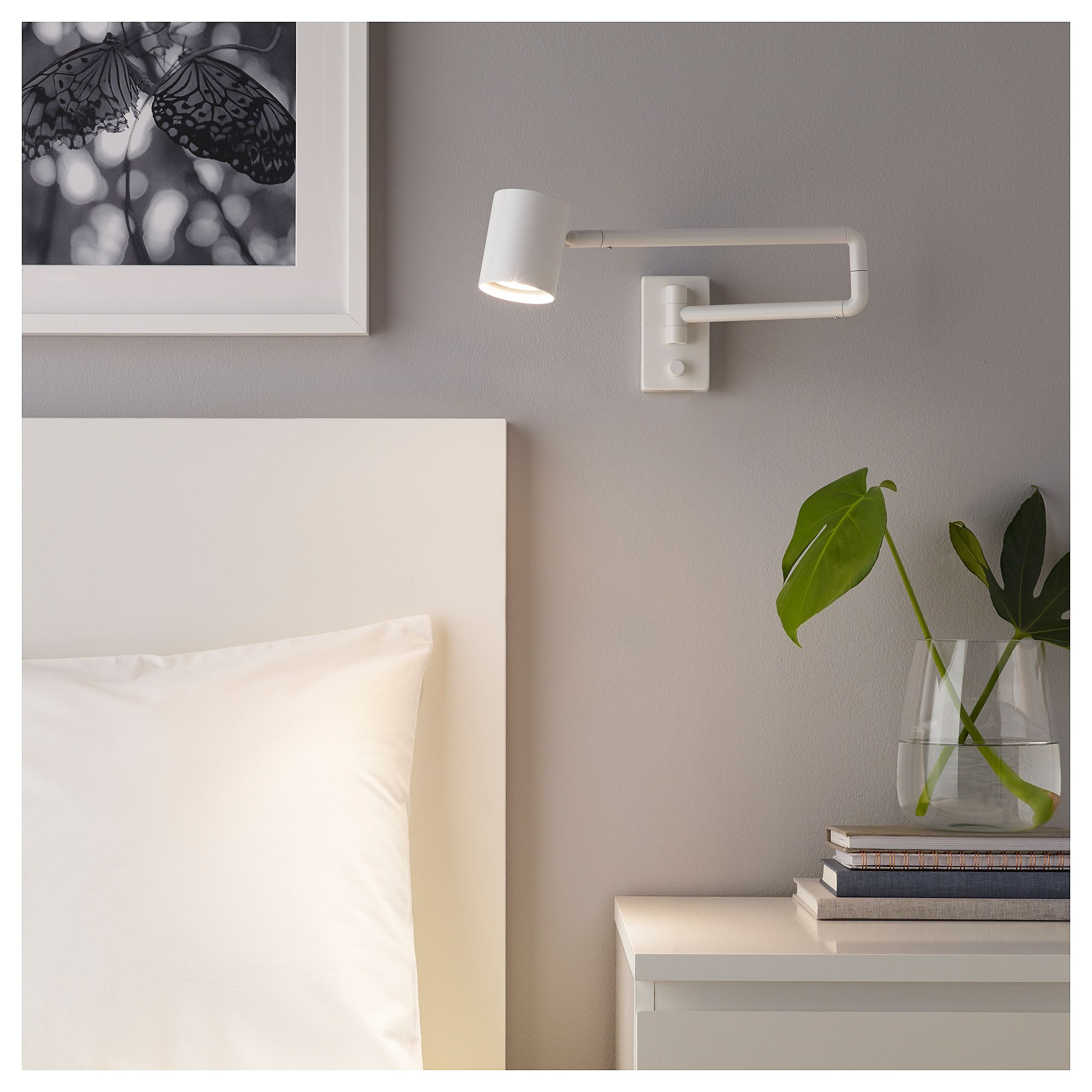 Nymane Wall Lamp With Swing Arm Led Bulb White Ikea Reading Lamp Bedroom Reading Lamp Bedroom Reading Lights