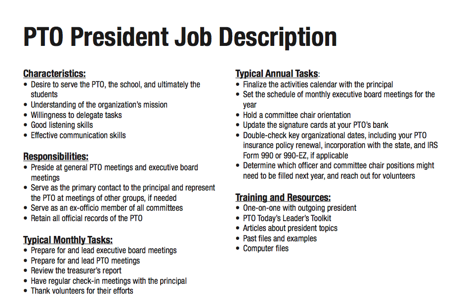 Job Description For A Parent Group Vice President Pto Pta