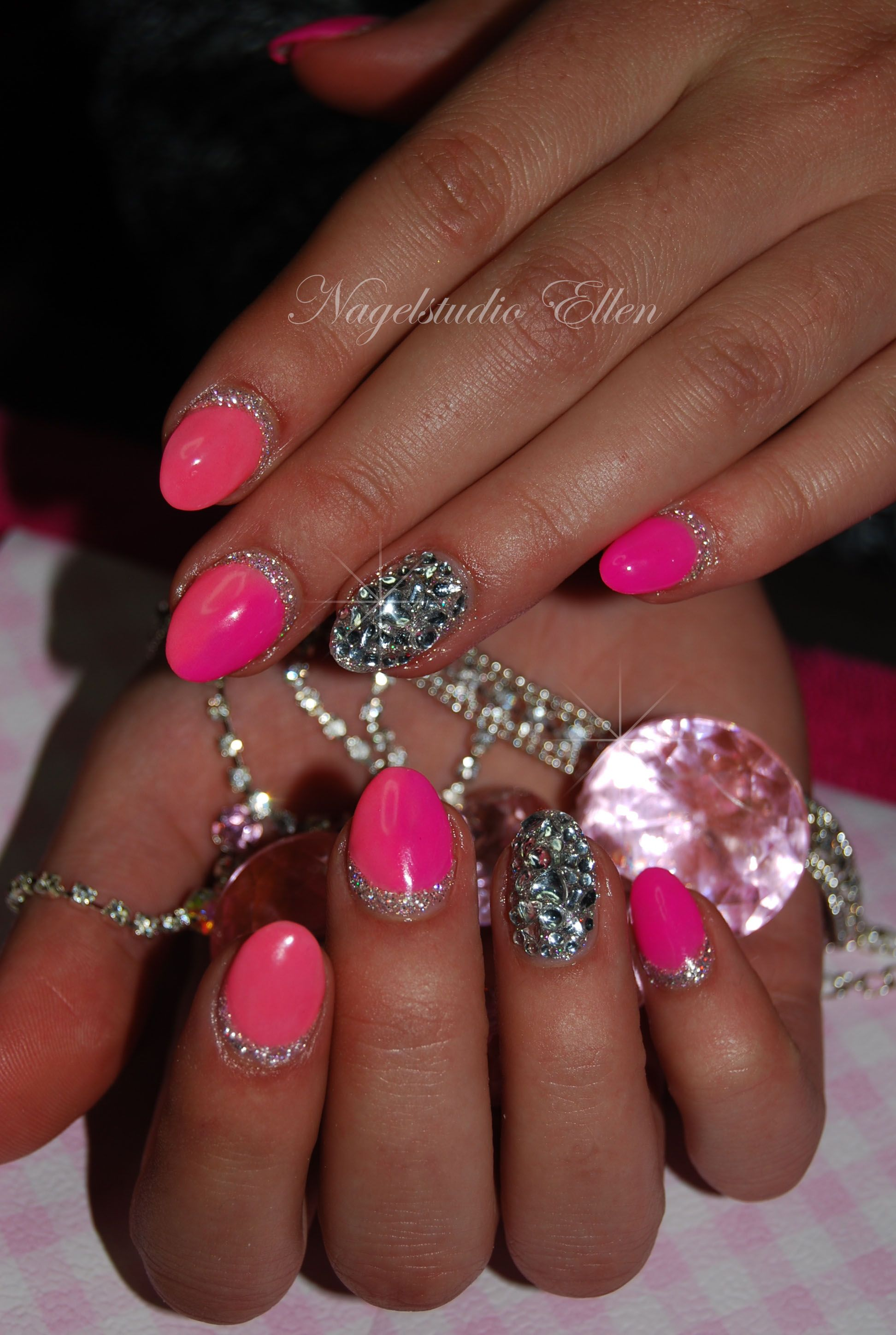 Pink and diamonds nails | Nails by me... | Pinterest | Pink ...