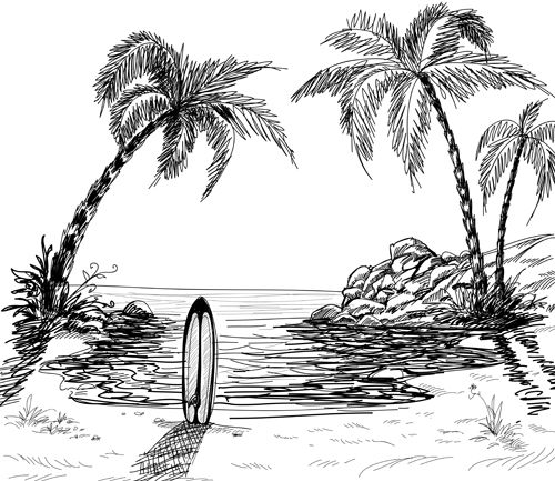 Hand Drawn Beach Black With White Vector 01 Vector Scenery Free Download In 2020 Landscape Drawings Tree Drawings Pencil Surf Drawing