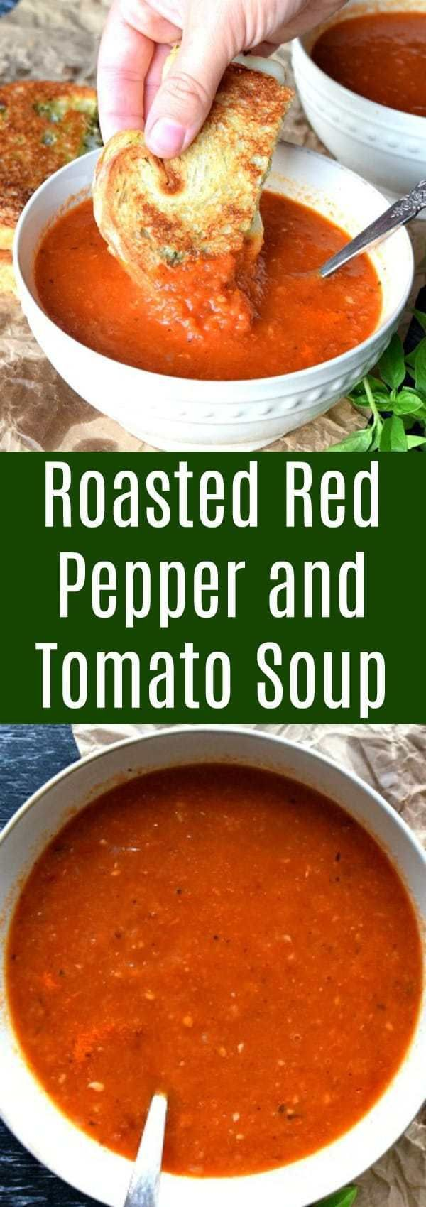 Roasted Red Pepper Tomato Soup The Schmidty Wife Stuffed Peppers Roasted Pepper Soup Roasted Tomato Soup