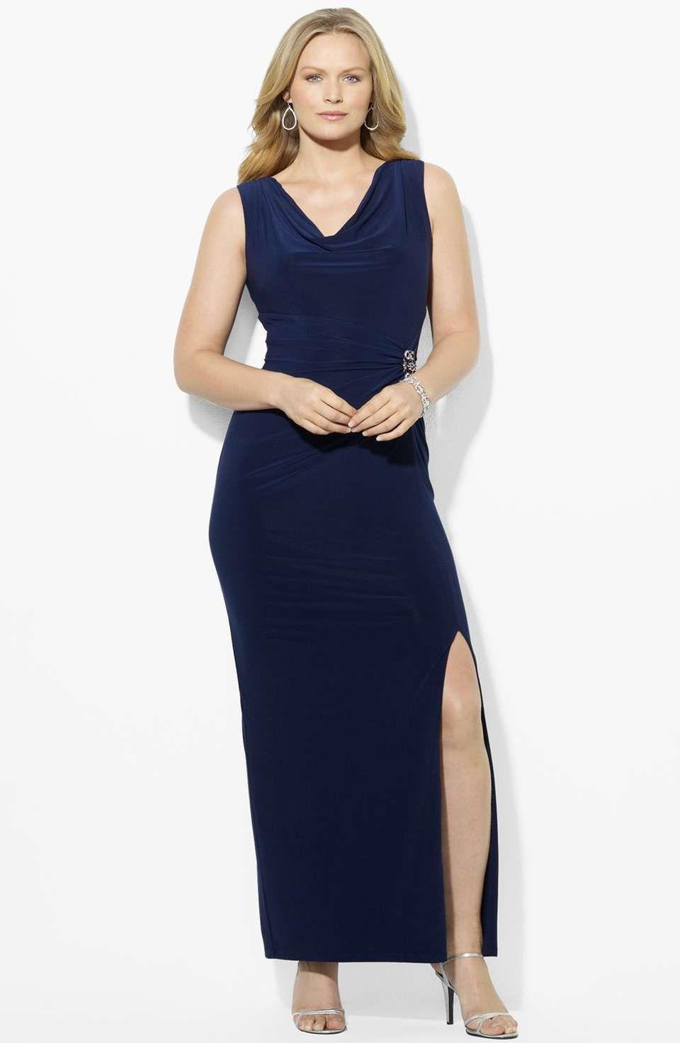 Love The Lauren Ralph Lauren Cowl Neck Gown Plus Size On Wantering
