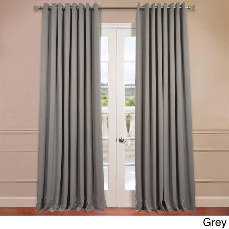 Eff Extra Wide Thermal Blackout Grommet Top 120 Inch Curtain Panel Grey