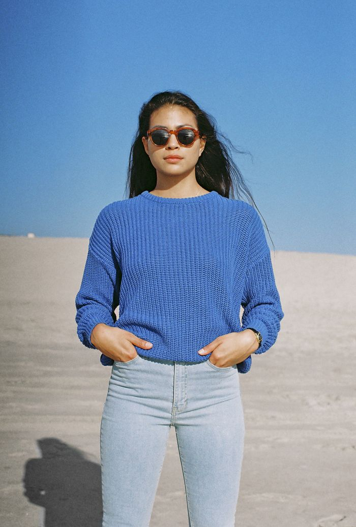 Danielle wears the Fisherman's Pullover and Pencil Jean at Venice Beach. January, 2015.