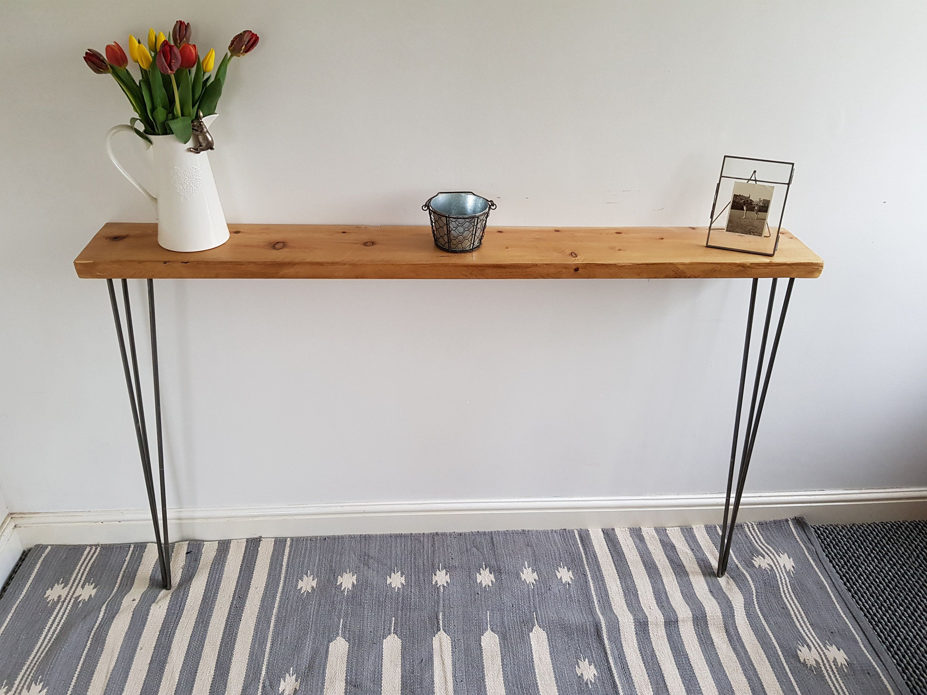 Narrow Rustic Console Table With Hairpin Legs Slimline Hall Etsy Rustic Console Tables Rustic Hallway Table Rustic Consoles