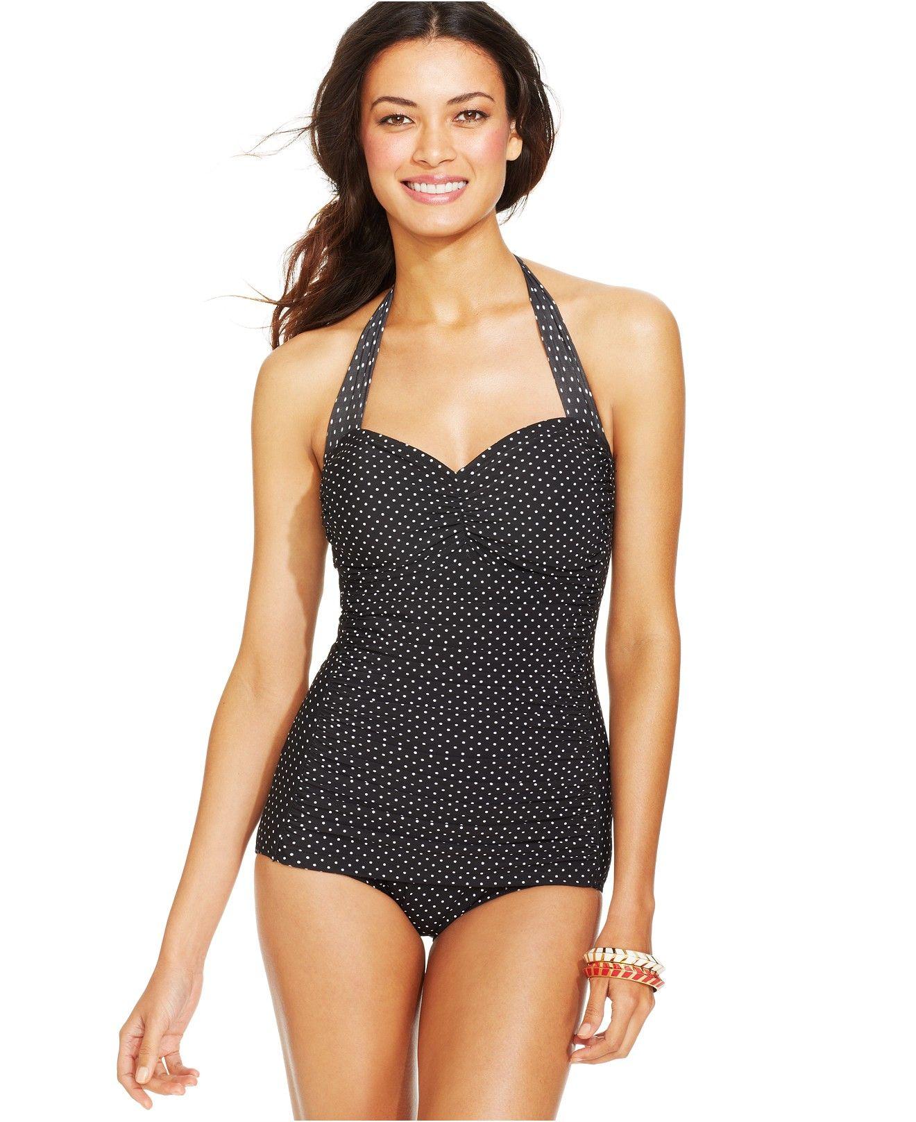 03da574f70b1e Miraclesuit Spellbound Polka-Dot Halter One-Piece Swimsuit - Swimwear -  Women - Macy's