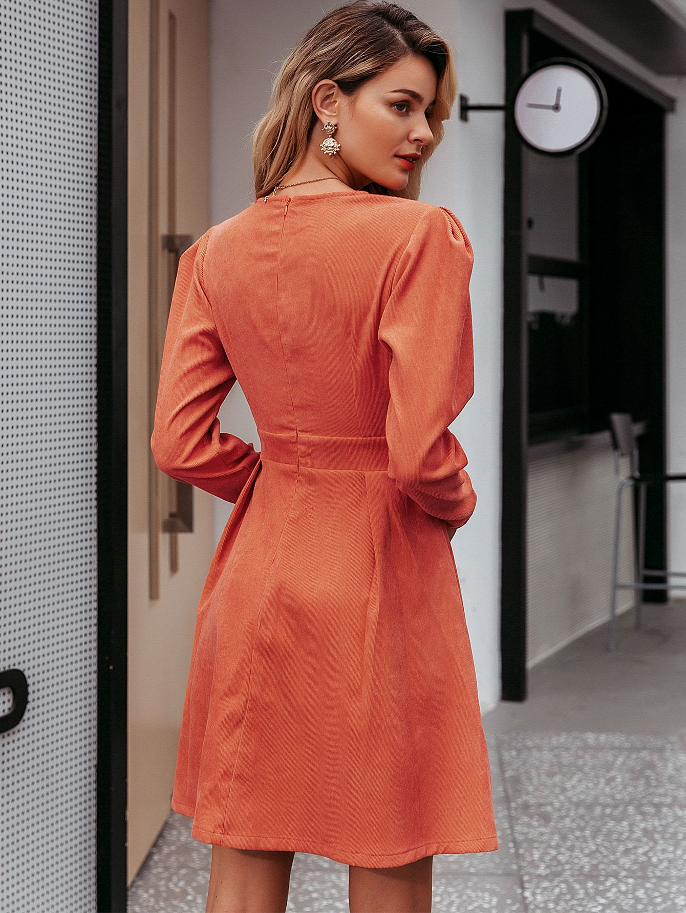 Simplee Gigot Sleeve Button Front Corduroy Dress Dress Sleeve Length Corduroy Dress Long Sleeve Tee Dress [ 1785 x 1340 Pixel ]