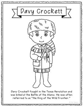 Davy Crockett Coloring Page Craft Or Poster With Mini Biography
