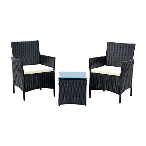 rattan garden chairs and table blue chair a half ebs 3 piece outdoor furniture patio set clearance sale coffee 2 white cushions black pe
