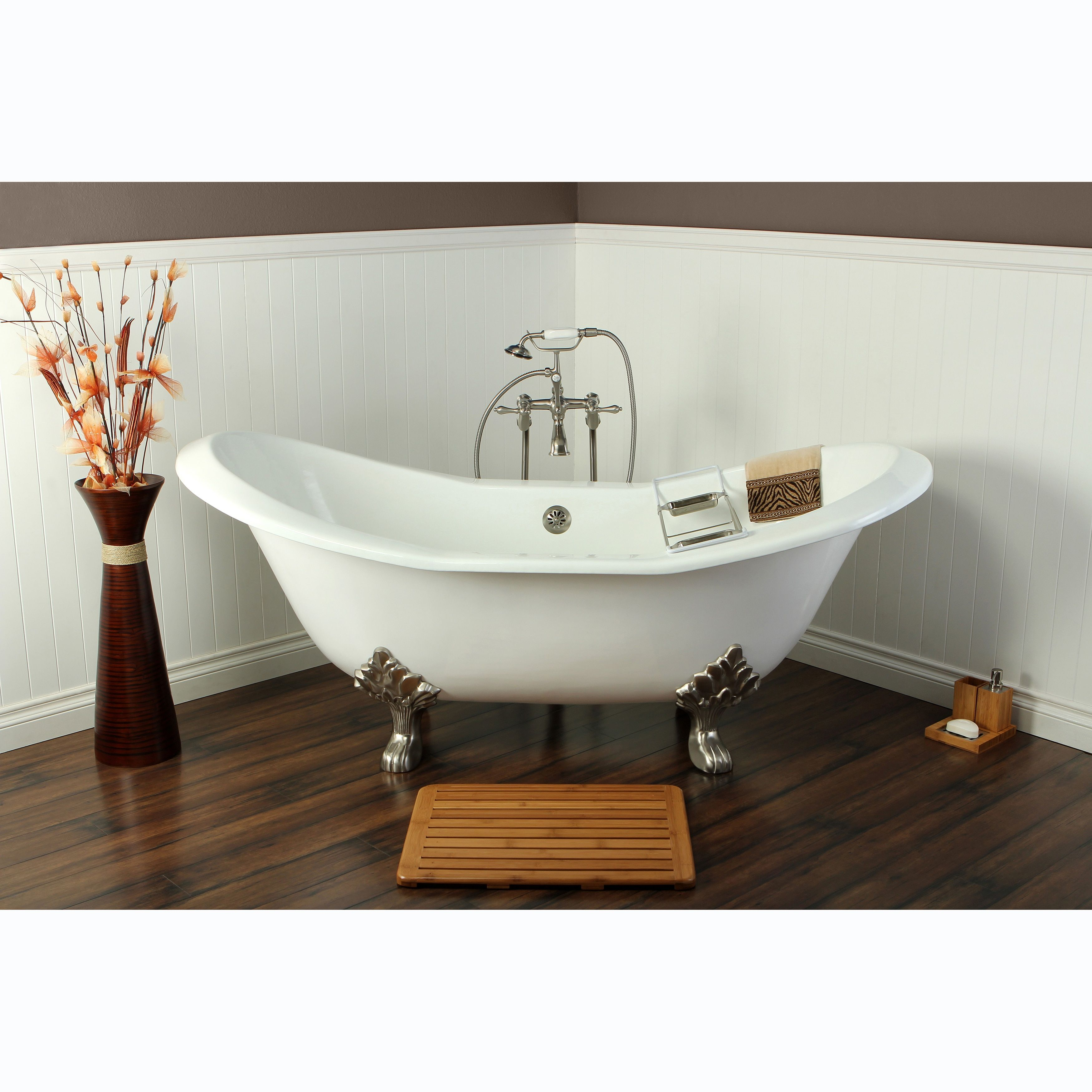 Double Slipper Cast Iron 72 Inch Clawfoot Bathtub White Satin