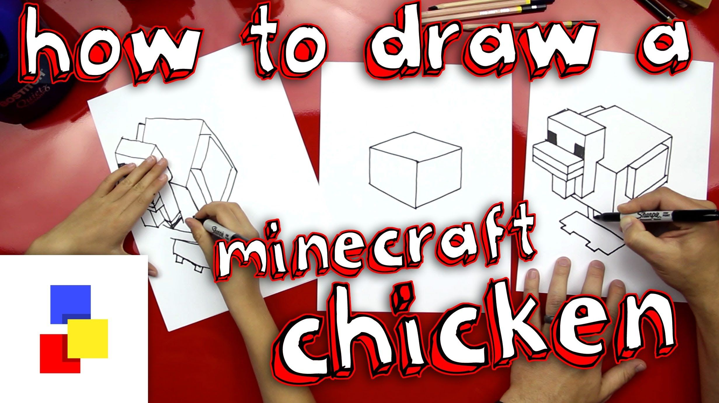 How to draw a chicken from minecraft art for kids hub