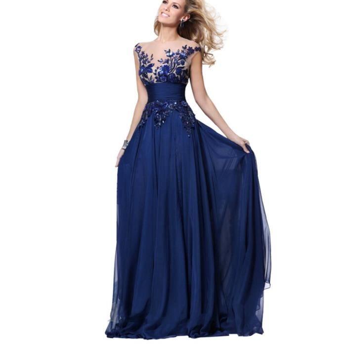 robe de soir e longue bleu dentelle applique robe de. Black Bedroom Furniture Sets. Home Design Ideas