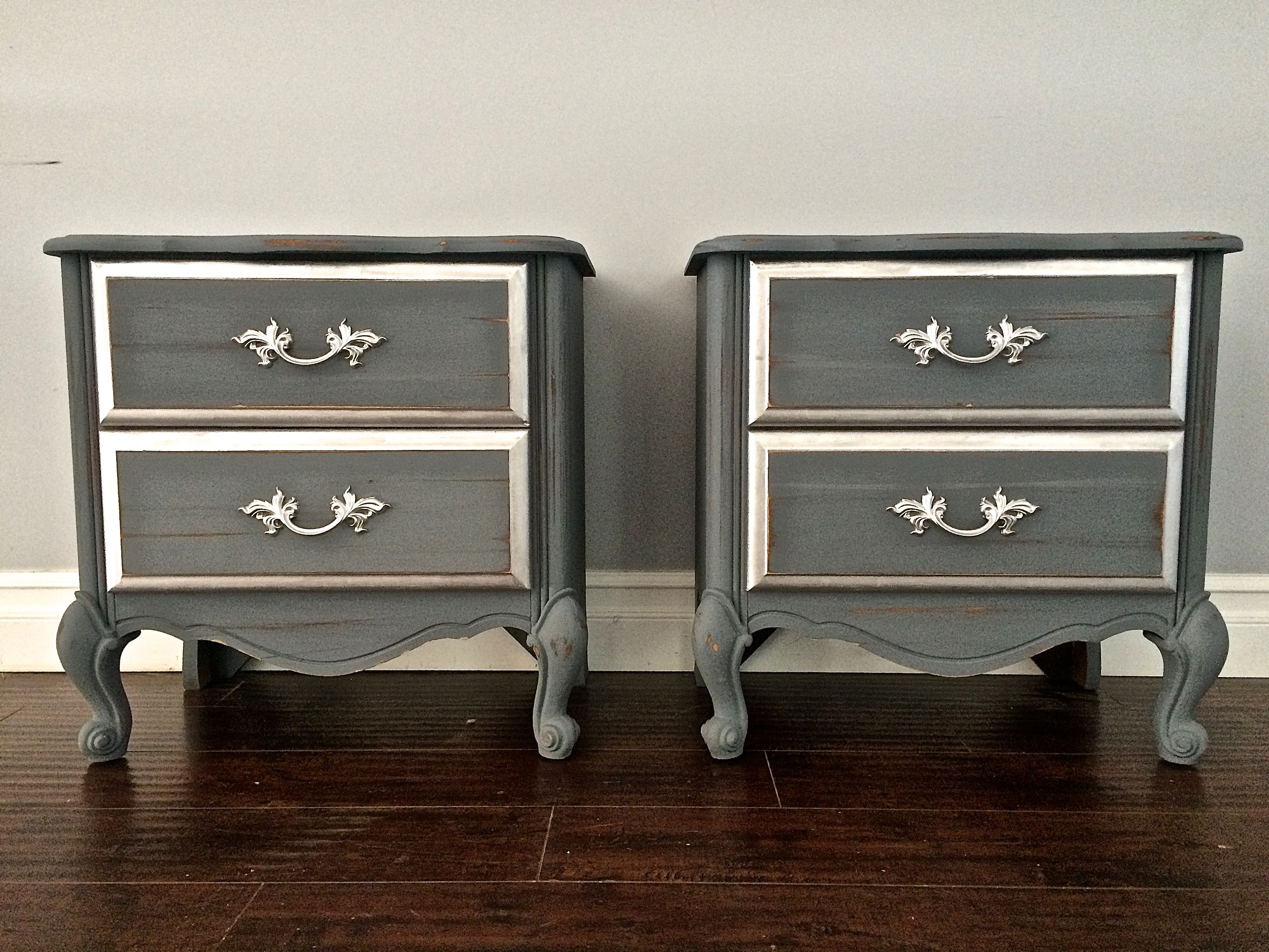 Silver Leaf Bedroom Furniture Shabby Chic Gray Silver Leaf End Tables Nightstands 200