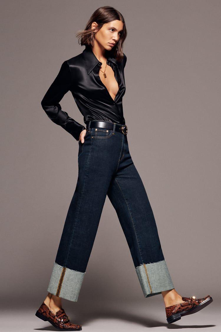 Zw Premium Folded Up Wide Leg Jeans In Serenity Blue Zara United States Ropa De Moda Mujer Ropa De Moda Pantalones Vaqueros Anchos De La Pierna