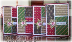 I used the sketch challenge at Sketch Freny Friday 121214 to create this set of cards.  Under Tree Specialty DSP, Whisper White, Cherry Cobbler card, Gold Glimmer Paper, Real Red ink, Bright and Beautiful and Teeny Tiny Sentiments stamp sets, Star Framelits & Bitty Banners Framelits Dies, by Kris McIntosh, www.stampingwithkris.com