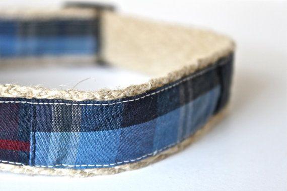 Patchwork Plaid Dog Collar  Rustic Organic by greenbeandogandcat, $18.00
