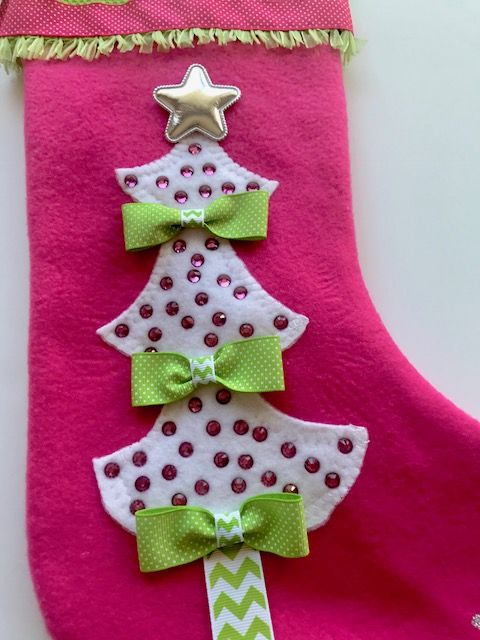 pink and green girls christmas stocking have it personalized with embroidered name - Girls Christmas Stocking