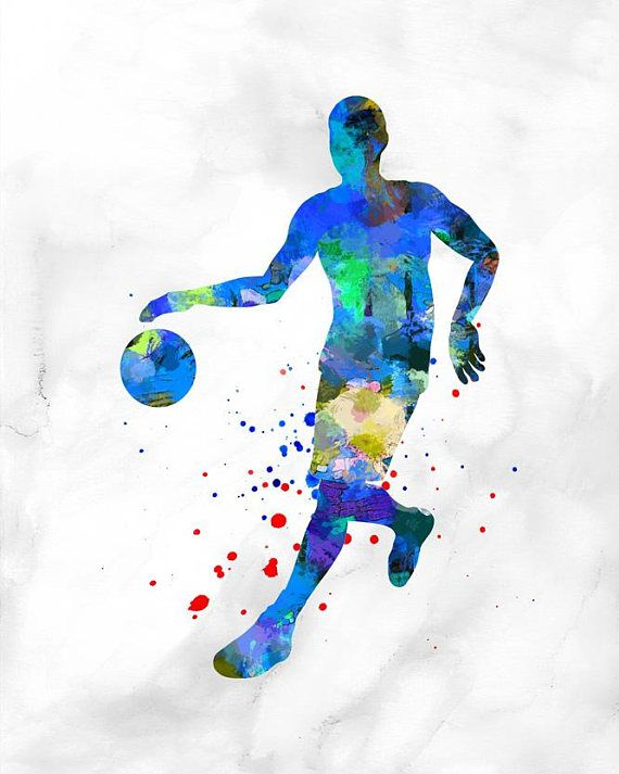 1036 Male Basketball Player Watercolor Sports Art Sports Sports Wall Art Sports Art Basketball Players