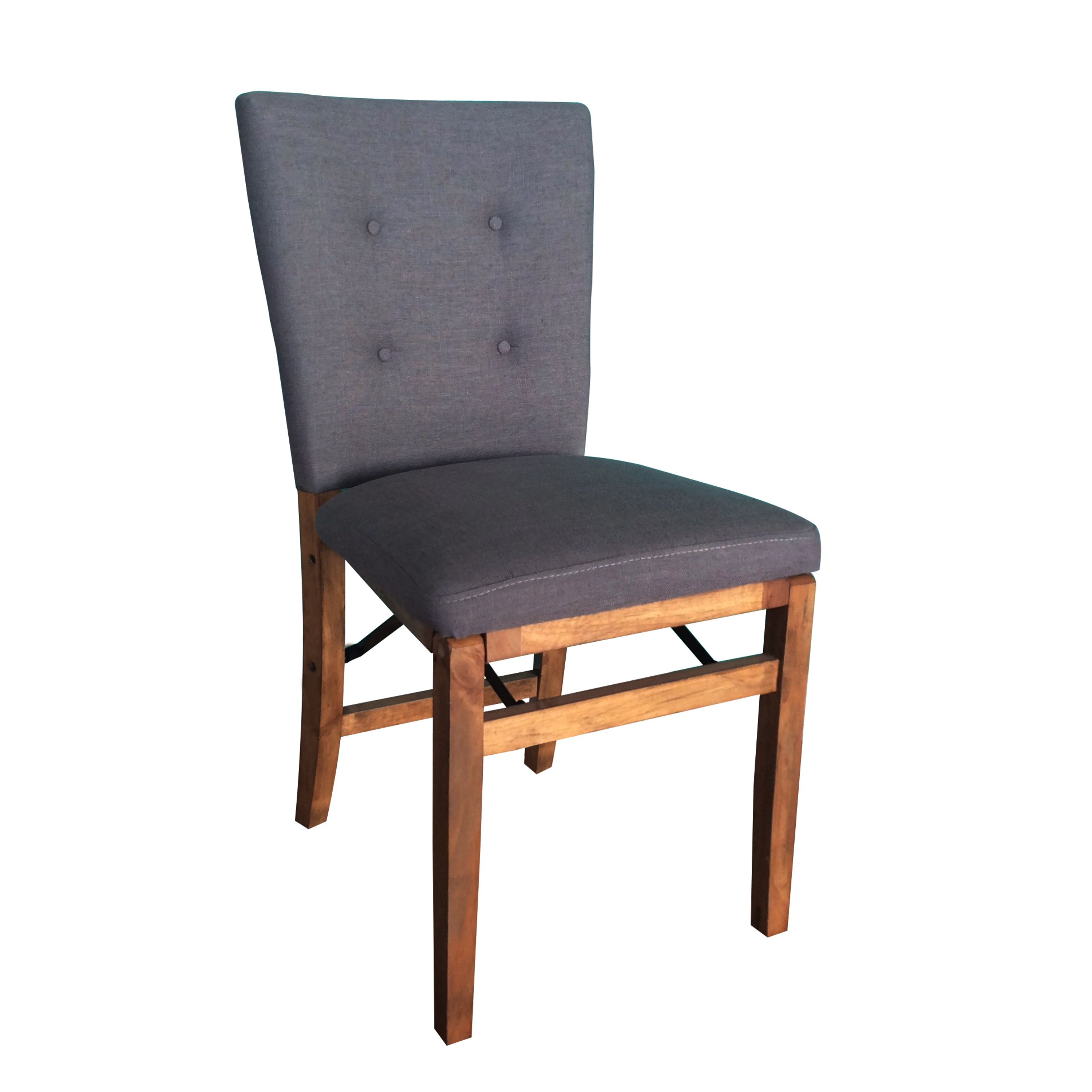 Upholstered Wooden Folding Chairs homepop solid wood grey folding chair | extra seating, grey fabric