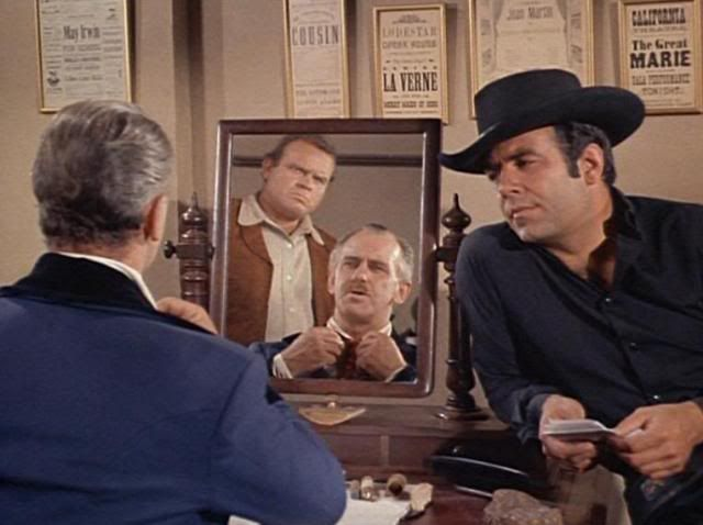 """Adam and Hoss interrogate the British spy who penned the letter that they found on a dead courier. When he refuses to reveal the identity of the confederate officer involved in the conspiracy, Hoss threatens, """"I could break you in half."""" Adam concedes, """"He could, you know."""" From The War Comes to Washoe (Bonanza)"""