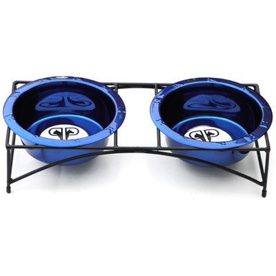 Platinum Pets Modern Double Diner Stand with 2 Wide Rimmed Bowls | Wayfair