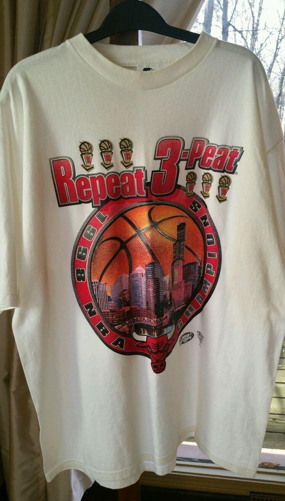 11bebb202 1998 Starter Chicago Bulls Repeat 3-Peat Championship T-Shirt L Jordan  Pippen  Starter  ChicagoBulls