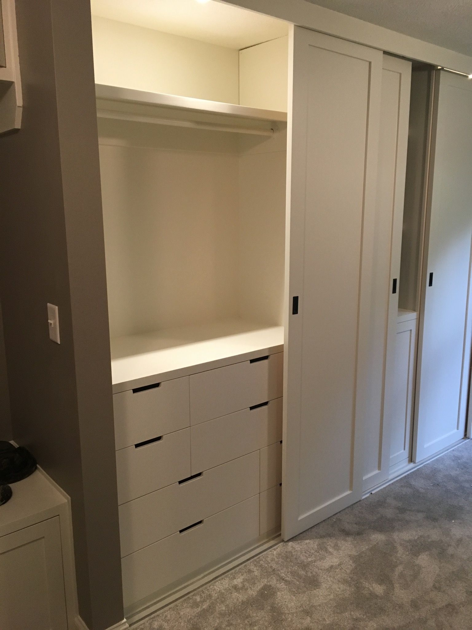 Ikea Nordli Dressers Within Built In Closet Sliding Ceiling Mounted Doors Build A Closet Ikea Closet Design Closet Built Ins