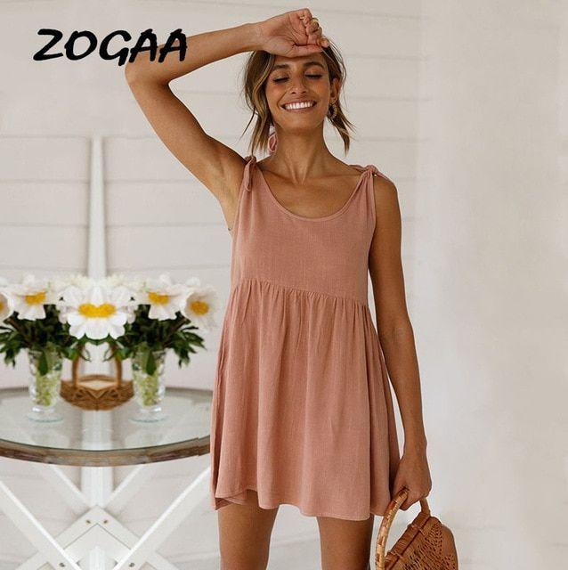 Spaghetti Strap Women Summer Beach Dress Ruffle Robe Pleated Oneck Office Lady Casual Dress