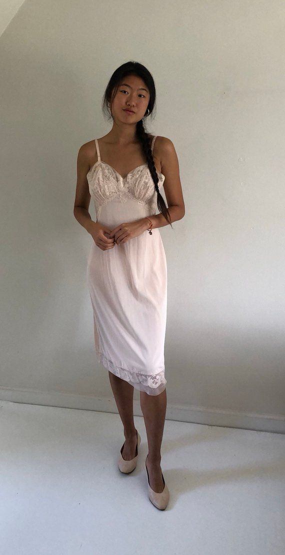 df2032c6f80 60s pale apricot full slip   nude lace slip   vintage lace slip dress    Vanity Fair lace slip dress