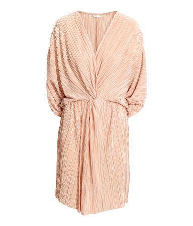 Plissért kjole   Pudder   Dame   H&M NO