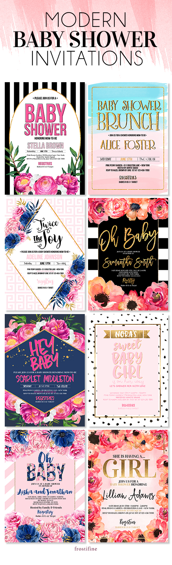 Modern, authentic and trendy baby shower invitations for your DIY ...